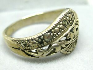 VINTAGE STERLING SILVER  MARCASITE / TWO MISING/ RING  SIZE 8