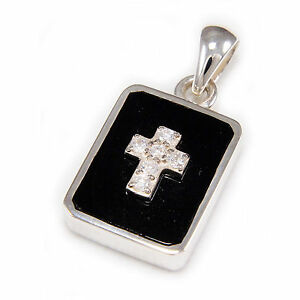 BLACK ONYX & WHITE CUBIC ZIRCON CROSS 925 STERLING SILVER PENDANT ks-072