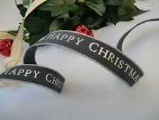 15mm x1m BERISFORDS HAPPY CHRISTMAS RIBBON RUSTIC NORDIC,SCANDI,CREAM, RED,GREY