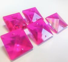 6 Fuchsia Hot Pink Square Chandelier Crystals 22mm Glass Beads Prisms