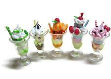 Set of 5 Mix Ice Cream Sundae in Plastic Cup Dollhouse Miniature Food Bakery-1