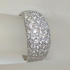 1.15 Ct Diamond Pave Dome Wedding Band Ring Solid 14K Wg Fine Estate Jewelry