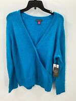 Vince Camuto Womens Size M Medium  Blue Long Sleeve Crossover V Neck Sweater