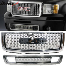 Fits 07-13 GMC Sierra 1500 Denali Front Bumper Upper Grill + Lower Grille Guards