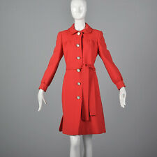 M 1960s Red Coat Dress Long Sleeve Shift Style Belted Casual Day Wear 60s Vtg