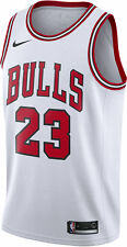 Large New Nike Michael Jordan Icon WHITE RED Chicago Bulls Swingman Jersey L
