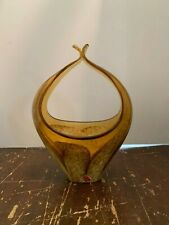 Vintage Murano Art Glass Basket Made In Italy Amber and White Swirl