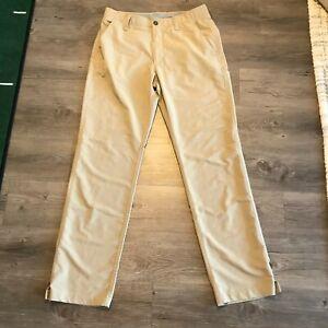 Men's Under Armour UA Golf Pants Size Sz 32 x 32 Khaki