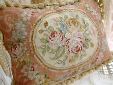 "20"" So Beautiful Pink Color Victorian Roses Shabby Chic Roses Needlepoint Pillow"