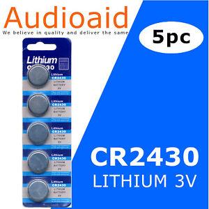 5pc CR2430 3.0V Lithium Battery DL2430, BR2430, ECR2430, 270mAh Expiry: 2025