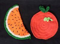 Watermelon Crocheted Pot Holders Trivets Hot Pads Vintage Crochet Fruit Apple