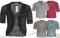 New Womens Ladies PLUS SIZE SHRUG Tie Knitted Crochet Cardigan Shrugs 18-32