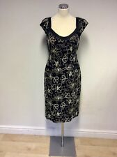 DUSK BLACK & WHITE EMBROIDERED SPECIAL OCCASION DRESS SIZE 14