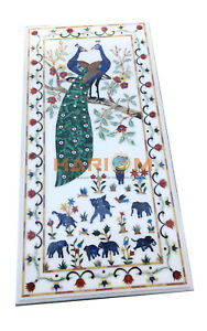 4'x2' Marble Dining Table Top Lapis Peacock & Elephant Inlay Hallway Decors W081