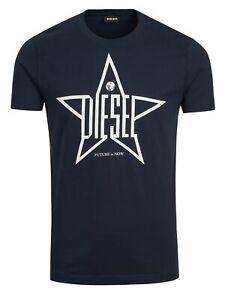 Diesel Herren Regular Fit Rundhals T-Shirt Navy Dunkel Blau - T-DIEGO-YH 81E