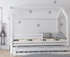 Hausbett Kinderhaus weiss Sicherheitsbarrieren Matratzenschublade 70,80,90,100 x