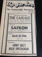 H7-1 Ephemera 1971 Advert Penzance The Garden The Casuals Safron