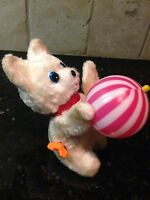 VINTAGE ADORABLE FUZZY KITTY MECHANICAL WIND UP CAT & STRIPED BALL TOY WORKS