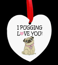 Beautiful Heart Shaped Metal Hanging Plaque Pug Dog Valentine Gift Present Love