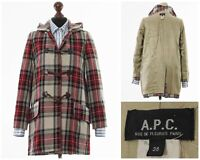 Women's A.P.C. Hooded Duffle Coat Jacket Wool Checked Red White Size 4 S 36