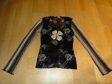 s. Oliver Tunika Langarm- Shirt Gr. S 36 Oberteil schwarz mit Druck Netzshirt