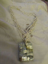 """Tiny White Ceramic Bead & Mother of Pearl Rectangle Pendant Necklace - 22"""" long"""