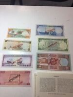 1978 BAHRAIN SUPERB SET OF 7 SPECIMEN BANKNOTES MATCHING SERIAL NUMBER *6430 UNC