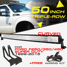 """50"""" 2808W TRI-ROW Curved CREE LED Light Bar +Mount Bracket For Ford F250/350/450"""