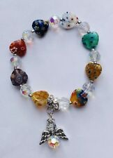 Stunning  Ocean Multicoloured Millefiori Heart Angel Bracelet With A Twinkle.-)