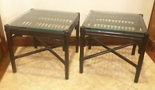 Vintage McGuire Mid Century Furniture Bamboo Rattan Travertine End Side Tables