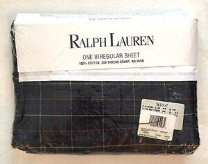 RALPH LAUREN NIP Green Plaid Irregular 100% Cotton Twin Flat Sheet 200 TC 66x96