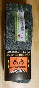 2 pair Realtree Socks Wool Blend Size L Olive W/Silvadur Hunting Hiking USA Made