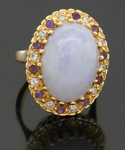 Heavy 14K YG 0.80CT VS diamond amethyst & lavender jade cocktail ring size 6.25