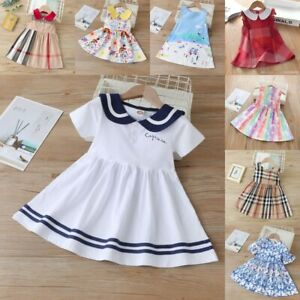 Kids Toddler Baby Girls Dress Floral Party Striped Plaid Flared Sleeves Dresses