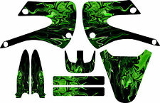 Kawaskai Kx85 kx 85 Graphic Kit 01-12 Flames Green Graphics Decal Sticker MX