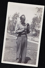 Old Vintage Antique Photograph Man Holding Teeny Tiny Puppy Dog