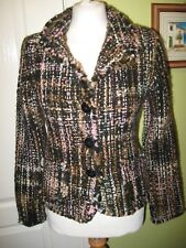 FITS A UK 8-10 AMANO HAND KNITTED MULTI COLOURED CHUNKY 100% WOOL LADIES JACKET