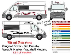 Motorhome Camper decals fits Renault Vauxhall Peugeot Fiat L2 & L3 vans