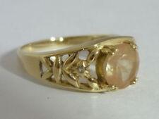 Stunning Tibetan Sunstone & White Topaz 9K Gold Ring Size N 1/2