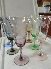 Vintage Harlequin Etched Wine Glasses