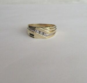 Vintage Men's 3 Stone Diamond Band Ring in 10K Yellow Gold~~Ring Size 11.5