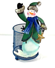 Snowman Metal Screen Flameless Candle Holder Table Top Decor Footed Bottom