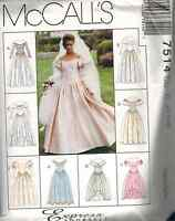7514 Vintage McCalls SEWING Pattern Elegant Wedding Gown Dress Bridal UNCUT OOP