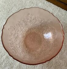 """Vintage Arcoroc Pink 9 1/4"""" ROUND GLASS SERVING BOWL w/Embossed Flowers ~ FRANCE"""