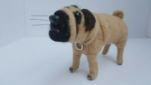 Pug Dog Needle Felted Unique Cute Handmade Animal Red-Pinapple Gift Present