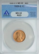 1929 S  LINCOLN WHEAT CENT 1C ANACS  *MS65 RED*  *SUPERB PQ!!*   *FREE SHIPPING*
