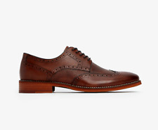 Textured Wingtip Dress Brown Shoes, Size 11