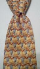 ERMENEGILDO ZEGNA Mens 100% Silk Necktie ITALY Luxury Geometric Yellow/Brown EUC