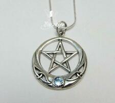 Sterling silver Aqua Goddess necklace with .925 18 inch chain pentagram pagan