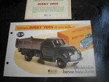 Fiche fascicule + Certificat Studebaker M benne basculante  Dinky Toys 25M Atlas